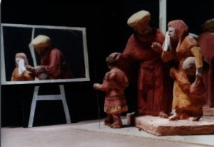 Maquette showing Abraham, Hagar and Ishmael - the models and the mirror